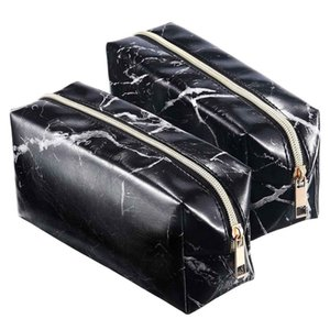 2 Pieces Cosmetic Toiletry Makeup Bag Pouch Gold Zipper Storage Bag Marble Pattern Portable Makeup Brushes (Black)