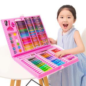 Масло Пастель Мелки Цветные карандаши 208 Штук цвета рисования Набор акварели кисти Pastel Набор детей Канцелярские рисования Детские ручки