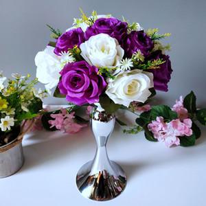 Centros de mesa de sirena de boda para mesa decoración de fiesta en casa flores de seda artificial candelabro mesa principal florero accesorios