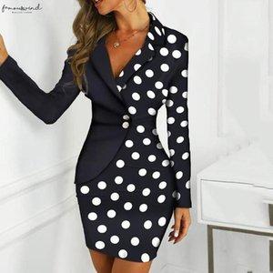 Sexy Women Above Knee Mini Office Dress 2020 Winter Dress Long Sleeve Buttons Polka Dot Bodycon Blazer Work Dress Vestidos Mujer