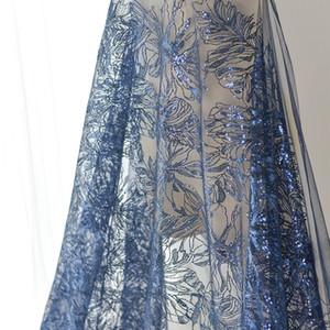 130см Wide Синий Золотой проволоки 3D пришивания кружева вышивки Шелковый хлопок Ткань Мода Одежда Свадебное платье Модель Показать Decor