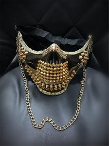 Uomini super-esagerato punk del cranio Rivetto Maschera notte fredda Club Dance Performance maschera di Halloween maschera d'oro d'argento Handmade / Colore