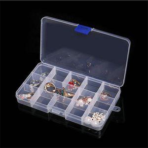 Plastic 15 Grids Compartimento ajustável de jóias caixa brinco Transparente Titular Caixa de armazenamento Caixa Caixas organizador