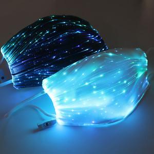 Moda Luz LED luminoso Boca Máscara Algodão poeira e à prova de vento de suspensão Ear Personalidade Máscara Facial engraçado carga USB