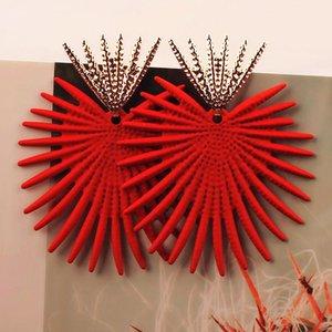 Nouvelle exagérée Big Boucles d'oreilles pour les femmes irrégulières géométriques en alliage de zinc Boucles d'oreilles Bijoux Halloween Cadeau Rouge Vert Jaune