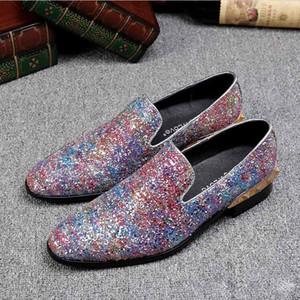 2018 New Style Super Fashon Uomo Scarpe Shiny Wedding Party Shoes Uomo Slip-On Scarpa casual in pelle Italia moda abito Oxford Scarpe