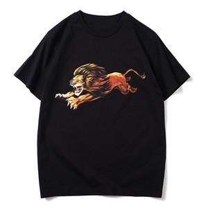 Mens estilista camiseta de manga corta de León impresión de alta calidad ocasional de Hip Hop Hombres Mujeres camiseta del verano de las camisetas del tamaño S-XXL