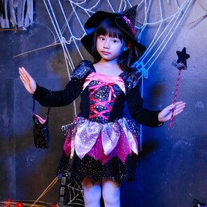 Shining Magic Witch Costume Christmas Party Dress Up Items Halloween Fancy cosplay Dress child costume Free Shipping