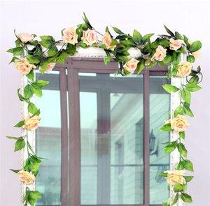 Multicolore Artificielle Fleur De Soie En Rotin 245 CM Partie De Mariage Décor Artificielle Rose Fleur Vigne Photographie Props Fleurs DIY Guirlande