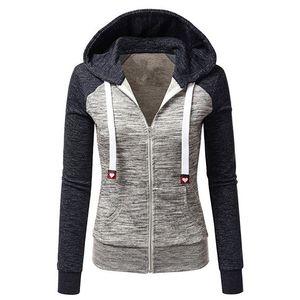 NIBESSER Sweatshirts Frauen Kapuzen Langarm-Hoodie Dame Reißverschlusstaschen Patchwork-Frauen Hoodie Frauen Sport-Jacke