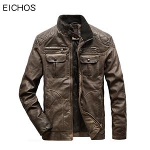 EICHOS EU Größe Männer Jacke Leder Vintage Distressed Winterjacken Herren Motorrad Lederbekleidung Multi Tasche Mens Faux Coat