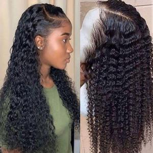 волна воды парика кудрявых париков шнурка волос переднего человека для черных женщин боба Длинного глубоко фронтальные бразильских парик мокрых и волнистые HD fullg99