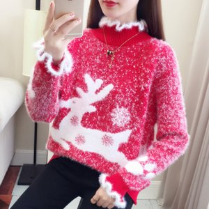 Christmas Girl suéter rojo de las mujeres del puente de invierno suéter hecho punto felpa suave mohair rosa collar de Elk Velvet patrón estudiante de moda T200102