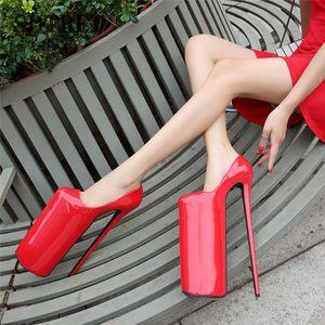 SDTRFT New Stilettos Plattform DWT 30cm Ultra High Thin Fersen des Mädchens Schuhe Frau Lolita Uniform Buckle Pumpen