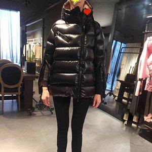 Fashion-Hot Women Designer Mc Letter Down Feather Winter Warm Jacket Split Zipper Sleeve Overcoat Parkas con capucha para mujer al aire libre