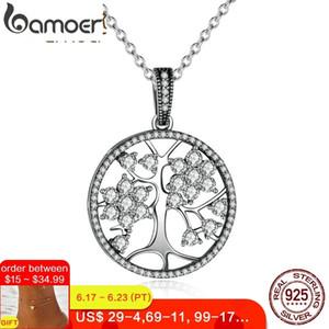 Bamoer Klasik 925 Ayar Gümüş Hayat Ağacı Yuvarlak Kolye Kolye Kadınlar Için Güzel Takı sevgililer Günü Hediyesi Psn013 J190620