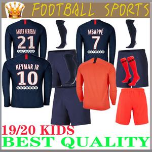 Camisa de manga comprida crianças PSG 2019 2020 crianças kit psg MBAPPE homens maillots kit 19 20 PARIS home Soccer Sets germain football suite