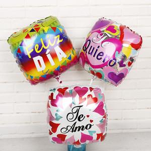 30pcs 18inch Spanisch Feliz Dia Te Amo quadratische Form Helium Ballons Mutter-Geburtstags-Party Wedding Love Globos Mama Geschenke Zubehör