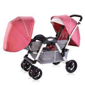 Leve Twins carrinho duplo carrinho de bebê para se sentar frente a frente, pode mentir pode sentar, 2 Assentos carrinho para 0-36 meses Crianças