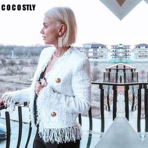 Veste de marque Femme Long Manteaux Mode Solide Slim Tassel Tweed Jacket Femelle Toitrine à double boutonnage Business Casual Lady Coat