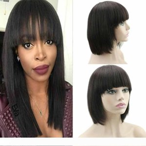 Lace Front Bob Wigs With Baby Hair Straight Human Hair Lace Front Wigs With Bangs Brazilian Short Lace Front Wigs With Baby Hair