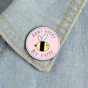 Rosa Runde Cartoon Bee Emaille Pin keine Sorge Bee Happy nette Tier Hemd Rucksack Tasche Revers pin Abzeichen Schmuck Mädchen Geschenk Broschen