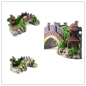 Juguete de pescado Puente accesorios de decoración para el hogar Puente de roca Paisaje Pabellón Árbol de resina Para pecera Acuario Decoración Adorno