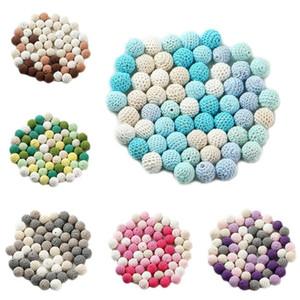 Toy collana 60Pcs 20 millimetri Chunky rotonda Crochet perline di legno bambino Teether Nursing dentizione ciuccio catena fanno DIY Crafts