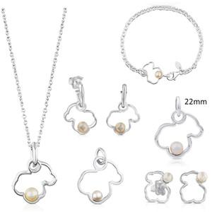100% 925 Sterling Silver Pearl Bear Hollow Ohrring-hängende Halsketten-Armband-Qualität Schmuck Retro Hochzeits-Geschenk-freies Verschiffen
