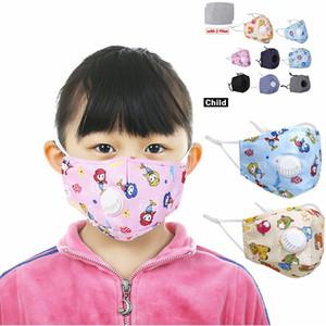 Crianças Dustproof Máscara Facial com a respiração filtro Válvula PM2.5 Pads crianças lavável reutilizável Anti-Pó nevoeiro máscaras respiratórias LJJA3974