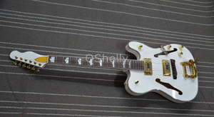 Custom Rare Jazz Guitar TeleGretscher Paul Waller White TELE Electric Guitar Semi Hollow Body, F Holes, Bigs Tremolo Bridge, Gold Hardware