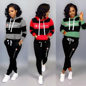 2019 Hot Champions Women 2 Piece Set Hoodies+Leggings Tracksuit Bodycon Outfits Striped Sportswear Winter Fall Casual Clothing 1987