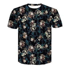 Hombres camiseta de manga corta 3d impresión divertida muchas flores del cráneo del cuello redondo de la camiseta 2018 tops casuales de verano de los hombres de secado rápido de S-4XL