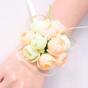 50pcs / set mariage poignet fleur nuptiale de bal de simulation main fleurs Bracelet soeurs de demoiselle d'honneur Poignet Corsage Fleur décorative BH2466 TQQ
