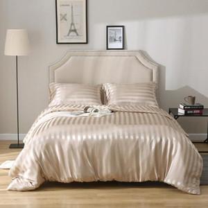 şerit yatak yatak takımları haftalık Yorgan Nevresim + Yastık durumda saten Yeni Saten ipek yatak seti tarzı King Size nevresim seti