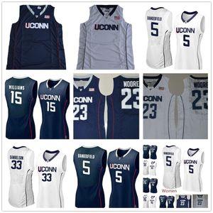 Mujeres personalizadas Uconn Huskies College Baloncesto Blanco Azul marino personalizado 1 Cristiano Vital cosido Cualquier nombre Número Jerseys S-2XL