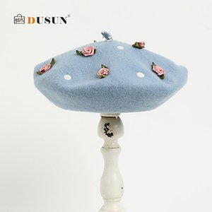 Handmade Wool Ladies Beret Literary Flower Embroidered Hat Casual Autumn Winter Warm Berets Birthday Present for Girls 2019 New