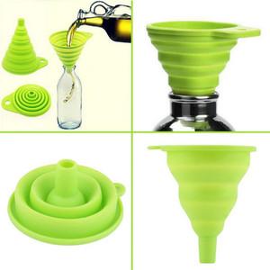 Alta calidad 1pc nuevo mini gel de silicona plegable plegable del estilo de embudo de la tolva de cocina utensilios de cocina