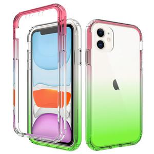 Градиентный цвет двухслойный чехол Чехол для Apple Iphone 11 Pro X XS XR MAX для Samsung Galaxy S20 Plus Ultra S10 Plus телефон прозрачные чехлы 100шт