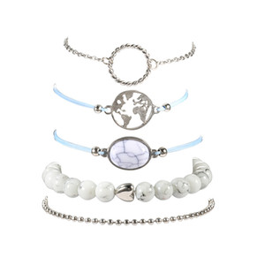 Grânulos boêmio charme pulseiras conjunto feminino partido jóias moda shell mapa pedra multicamadas pulseira set