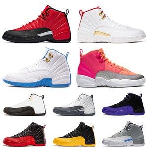 Nike Air Jordan Retro 12 12s Top 12 12 s Jumpman Hommes Gris Foncé Concord Inverse Grippe Jeu Basketball Chaussures Hot Punch FIBA Marque Stock X Hommes Formateurs Sport Sneakers