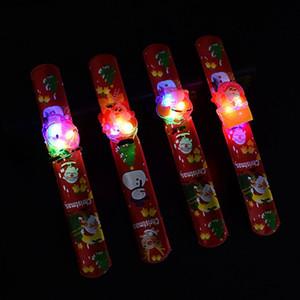 Bracciale di Natale LED luminoso Clap Anello d'ardore dei braccialetti Braccialetti Santa Snowman polso Clap Anello di Natale giocattolo XmasT2G5059