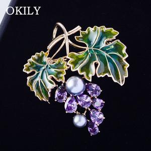 OKILY New Purple Zircon Grape Brooches for Women Luxury Enamel Fruits Brooch Pin Jewelry Wedding Corsage Dress Coat Accessories