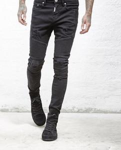 rappresentare designer di abbigliamento pantaloni slp blu / nero distrutto Mens slim Denim etero biker skinny jeans Uomo Jeans Strappati 28-38