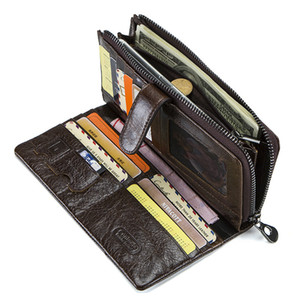 Genuine Leather Men Wallets High Quality Long Clutch Wallet Design Card Holder Purse Bag Coin Pockets Famous lady