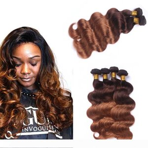T4 30 Brown Blonde Peruvian Ombre Human Hair Weave Bundles Wholesale Peruvian 2 Tone Body Wave Ombre Human Hair Extensions