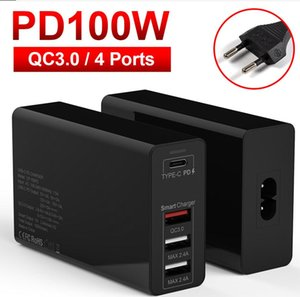 100W USB C Type C PD QC 3.0 4 Port Fast Charger Power Adapter for Macbook Pro Air Lenovo Xiaomi Huawei Tablet