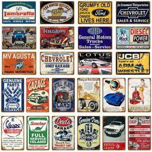 Vintage Car Garage Ретро Металлические жестяные вывески Vespa Декоративные тарелки Mack Trucks стены наклейки Мотоцикл автомобилей Poster Home Decor