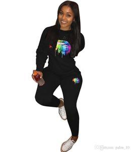 Womens Outfits Long Sleeve Two Piece Set Tracksuit Jogging Sportsuit Shirt Leggings Outfits Sweatshirt Pants Sport Suit