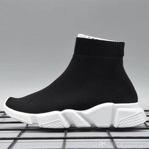 Knitted Sock Runner Knit Kids Speed Trainers Mid High Running shoes Black Red White Infant Sneaker Children sports shoes girls boys shoes